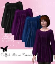 Sims 3 — Puffed Sleeve Tunic: New Mesh by hrekkjavaka — A Longer tunic/smock top, with cute puffed sleeves, new mesh. :)