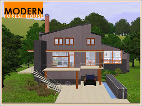 Sims 3 — Modern Forest House by Leomo — This Modern Forest House fits a family of five perfectly. On the first floor