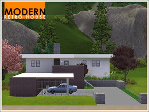Sims 3 — Modern Retro House by Leomo — The name says it all: this is a modern house with a touch of retro! It includes an