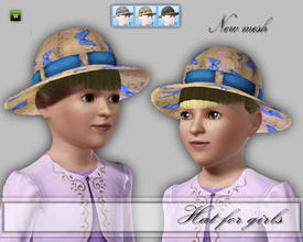 Sims 3 — CD_Hat For Girls by TSR Archive — A hat instead of a bonnet for girls in 3 new default colors and patterns.