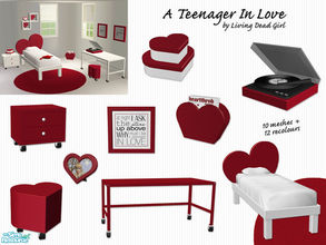Sims 2 — A Teenager In Love Bedroom by Living Dead Girl — Includes bed, nightstand, desk, artwork, heart shaped frame,
