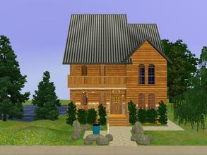 Sims 3 — My Old Kentucky Home (Unfurnished) by KatieKing — Log cabin type home, pond view from rear deck, rolling hills,