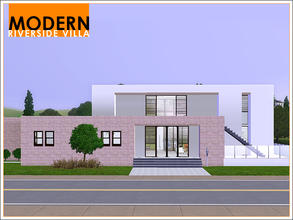 Sims 3 — Modern Riverside Villa by Leomo — This Modern Riverside Villa offers enough room for a family of four. It has a