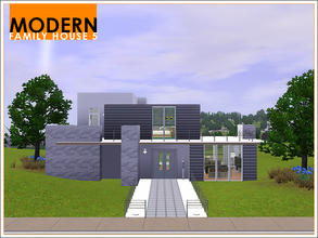 Sims 3 — Modern Family House 5 by Leomo — A Modern Family House with two bedrooms, one bathroom, a large living room