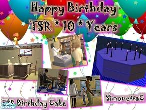 Sims 2 — TSR Birthday Cake by SimonettaC — Celebrate 10 years of TSR! Built to look like a Birthday cake, with a lit