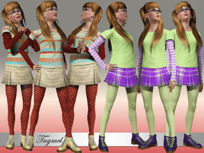 Sims 3 — Teen Everyday Set-01 by TugmeL — Standard EA Games re-color clothes.. This set has 3 Tops and 3 Bottoms By