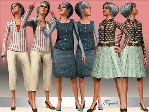 Sims 3 —  Elder Everyday Set-01 by TugmeL — Standard EA Games re-color clothes.. This set has 3 Tops and 3 Bottoms By