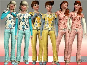 Sims 3 —  Teen Sleepwear Set-01 by TugmeL — Standard EA Games re-color clothes.. This set has 3 Tops and 3 Bottoms By