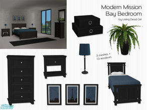Sims 2 — Modern Mission Bay Bedroom by Living Dead Girl — Recolours of the Mission Bay Bedroom in black with new fern