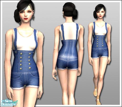 Lisa 86's af021009 - High Waisted Shorts - Dark Denim Suspenders