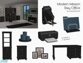 Sims 2 — Modern Mission Bay Office by Living Dead Girl — Black recolours of the Mission Bay Office with three new meshes: