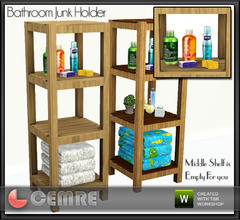 Sims 3 — Vingrona Bathroom Design Junk Holder by cemre — Middle shelf is empty, deco items you like can be put in there,