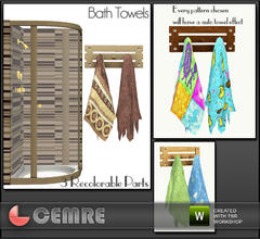 Sims 3 — Vingrona Bathroom Design Hanged Bath Towels by cemre — Every pattern will have a towel effect automatically..