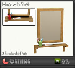 Sims 3 — Vingrona Bathroom Design Mirror with Shelf by cemre — Mirror with a shelf which has toothbrushes and toothpaste