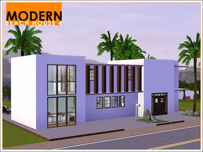 Sims 3 — Modern Beach House 4 by Leomo — This Modern Beach House offers room for three Sims. The house has a large living