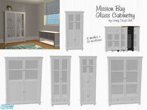 Sims 2 — Mission Bay Glass Cabinetry by Living Dead Girl — Six meshes and 18 recolours to match Mission Bay and Modern