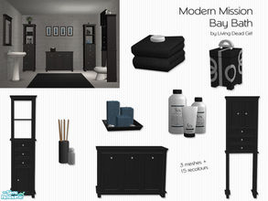 Sims 2 — Modern Mission Bay Bath by Living Dead Girl — Includes three new meshes - bottles, towels with soap and deco