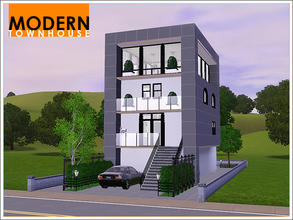 Sims 3 — Modern Townhouse by Leomo — This Modern Townhouse has everything a modern Sim family needs: it has two bedrooms,