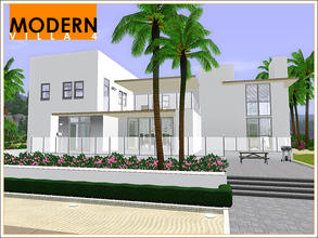 Sims 3 — Modern Villa 4 by Leomo — This Modern Villa has a large living room (with fireplace), a kitchen with breakfast