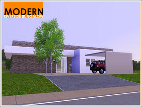Sims 3 — Modern Riverside Bungalow by Leomo — This Modern Riverside Bungalow has an open plan kitchen, living-/ dining