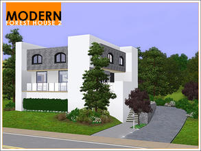 Sims 3 — Modern Forest House 2 by Leomo — This second Modern Forest House has enough room for a family of four. There are