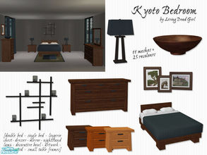 Sims 2 — Kyoto Bedroom by Living Dead Girl — Asian inspired bedroom set featuring double bed, single bed, lingerie chest,