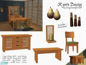 Sims 2 — Kyoto Dining Room by Living Dead Girl — Asian inspired dining room. Includes 2 tile table mesh, 1 tile dining