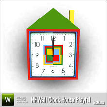 Sims 3 — NK Wall Clock House Playful by MoMama — A playful house clock for your Sims to enjoy. By MoMama. TSRAA.