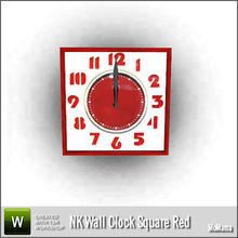 Sims 3 — NK Wall Clock Square Red by MoMama — A red and white square wall clock for your Sims to keep up with time. By