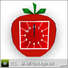 Sims 3 — NK Wall Clock Apple Red by MoMama — An apple shaped clock with a red clock face. By MoMama. TSRAA.