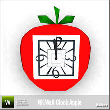 Sims 3 — NK Wall Clock Apple by MoMama — A wall clock in an apple shape. By MoMama. TSRAA.