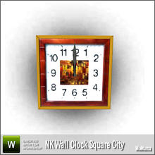 Sims 3 — NK Wall Clock Square City by MoMama — A square wall clock with an inlay of wood featuring a colorful city. By