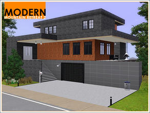 Sims 3 — Modern Mountain Retreat 2 by Leomo — This second Modern Mountain Retreat has a two-car garage on the ground