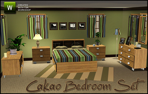 Sims 3 —  Cakao Bedroom by sim_man123 — New bedroom mesh set, contains 8 items. Bed, dresser, end table, sideboard
