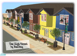 Sims 2 — The High Street by BadDay — A typical city High Street, including a H&M, a Greasy Spoon cafe, a Pet Shop, a