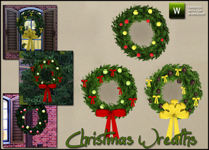 Sims 3 —  Christmas Wreaths by sim_man123 — New set of 3 decorative Christmas Wreaths. Wreath 1 is just ornaments in two