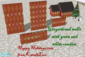 Sims 2 — Gingerbread green white candy set 1 by kandlelore — Gingerbread walls with green and white candy for your sims