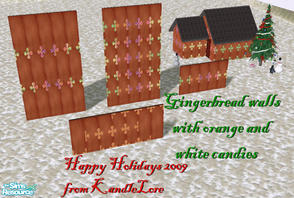 Sims 2 — Gingerbread orange white candy set 1 by kandlelore — Gingerbread walls with orange and white candy for your sims