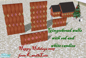 Sims 2 — Gingerbread red white candy set 1 by kandlelore — Gingerbread wall with red and white candies for your sims to
