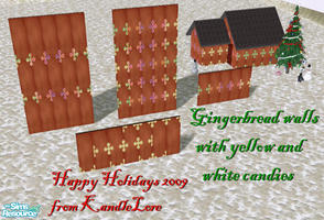 Sims 2 — Gingerbread yellow white candy set 1 by kandlelore — Gingerbread wall with yellow and white candies for your