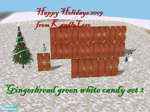 Sims 2 — Gingerbread green & white wall set 2 by kandlelore — A gingerbread wall for your sims to build their dream