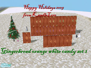 Sims 2 — Gingerbread orange & white candy set2 by kandlelore — A gingerbread wall for your sims to build their dream