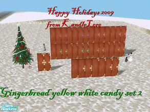 Sims 2 — Gingerbread yellow & white candy set 2 by kandlelore — A gingerbread wall for your sims to build their dream