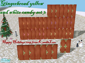 Sims 2 — Gingerbread green & white candy set 3 by kandlelore — Gingerbread wall with green and white candy for your