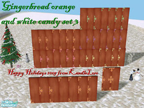 Sims 2 — Gingerbread orange & white candy set 3 by kandlelore — Gingerbread wall with orange and white candy for your