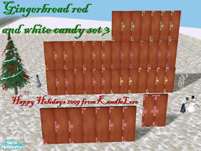 Sims 2 — gingerbread red & white wall set 3 by kandlelore — Gingerbread wall with red and white candy for your sims