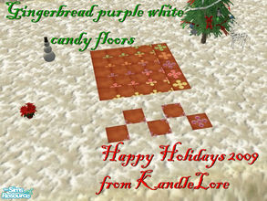 Sims 2 — Gingerbread purple & white candy floor set by kandlelore — Gingerbread candy floor set for your sims to