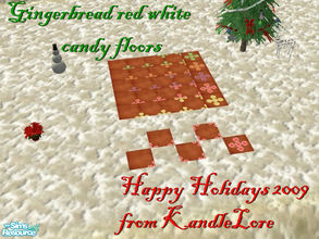 Sims 2 — Gingerbread red & white candy floor set by kandlelore — Gingerbread candy floor set for your sims to build