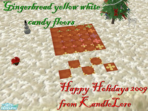 Sims 2 — Gingerbread yellow & white candy floor set by kandlelore — Gingerbread candy floor set for your sims to