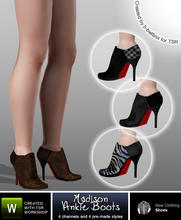 Sims 3 — Madison Ankle Boots by b-bettina — A pack of strikingly chic ankle boots with high heels, seam detail, red